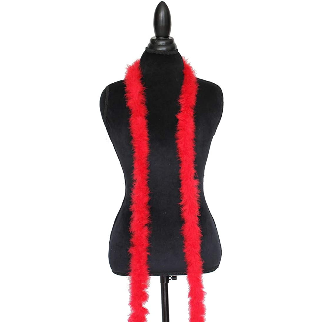 Cynthia's Feathers Marabou Feather Boa 6 Feet Long 15 Grams Crafting Sewing Trim Hair Bows Wedding Halloween (Red)