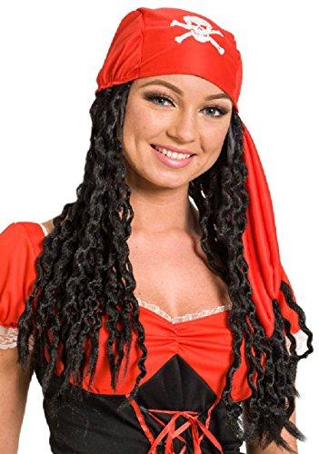 Folat 26820 zwart piratenpruik dames, één maat