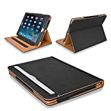 MOFRED Black & Tan Apple iPad Air (Released 2013) Executive Leather Case-Voted by 'The Daily Telegraph' as #1 iPad Air Case! (For iPad Models A1474,A1475 and A1476)