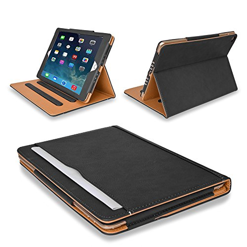 MOFRED® Black & Tan Apple iPad Air (Released 2013) Executive Leather...