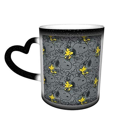 Taza cambiante de color sensible al calor de Snoopy Taza cambiante en el cielo Tazas de café mágicas y divertidas de arte Taza de cerámica - ¡La imagen se revela cuando se agrega líquido caliente!