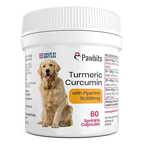 Turmeric for Dogs 500mg extract 10,000mg equivalent for Dogs 60 Sprinkle Capsules Turmeric with Piperine | Helps Support Joints and Hips | Turmeric Dogs UK Manufactured by Pawbits
