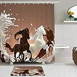 Juego de Cortina de Ducha con Alfombra,Caballo Chocolate Crema Decorativa Comida Animal T, Cortinas de baño Impermeables con 12 Ganchos