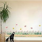 Wandsticker Hintergrund Wandtattoo Gartenzaun Blume Schmetterling Wandaufkleber Für Kinderzimmer Kinderzimmer Fenster Wirkung Wohnkultur Kinder Wandtattoo Kunst