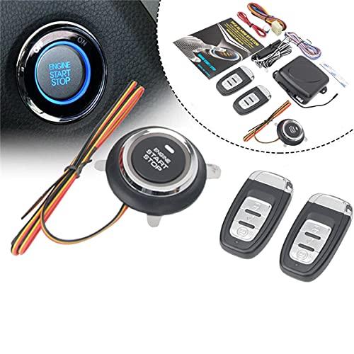 HIWOWSPORT 9pcs Car Keyless Entry Engine Start Alarm System Push Button Remote Starter Stop