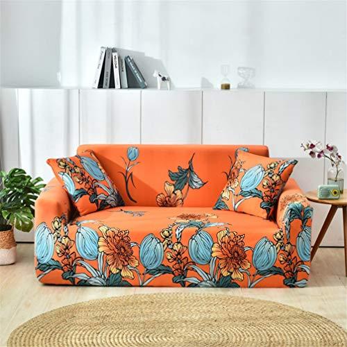 empty Stretch Schonbezug Sofa Decken Das Gesamte Paket, Die Gesamte Abdeckung Slip Zusammensetzung Jahreszeiten Allgemein, Orange Blumenmuster 190x230cm