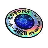 Finest Folia Corona Sticker Funsticker Hologramm Aufkleber für Kfz Auto Motorrad Laptop Kühlschrank Fenster Selbstklebend (R092 Corona 2020 Ich war dabei)