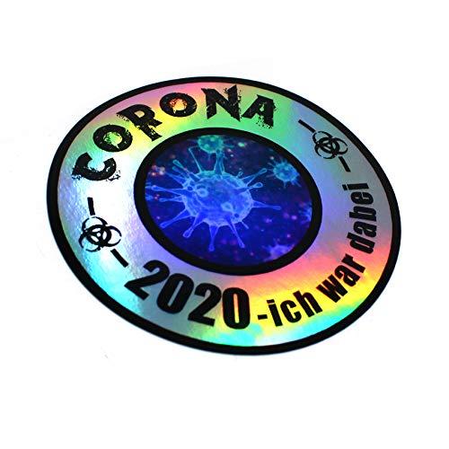 Finest Folia Corona Virus Sticker Funsticker Hologramm Aufkleber Lustig für Kfz Auto Motorrad Laptop Kühlschrank Fenster Selbstklebend (R092 Corona 2020 Ich war dabei)