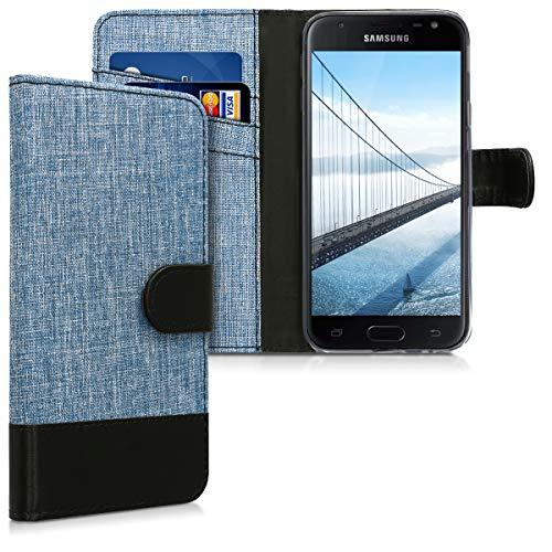 kwmobile Wallet Hülle kompatibel mit Samsung Galaxy J3 (2017) DUOS - Hülle Kunstleder mit Kartenfächern Stand in Blau Schwarz