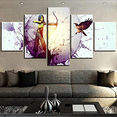 104Tdfc Impresiones sobre Lienzo 5 Piezas Lienzos Cuadros Pinturas Chicas Pájaro Arco Flecha Soldado CoolSin Marco 5 Panel Impresiones En Lienzo Decoración El Arte Pared Hogar