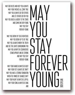 XIXISA Bob Dylan Forever Young Song Lyrics Poster Art Painting, Black and White Lyrics Canvas Art Print Home Music Poster Wall Decor/Unframed/5070cm