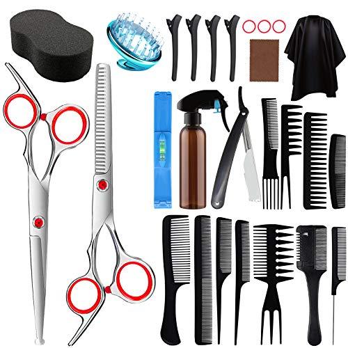 7 star 26 pcs Tijeras de peluquería, Capa de Barbero y Peine de Maquinilla de Afeitar,Clip, Tijeras Peluquelo Profesional para el cabello para Hombres , Mujeres y Niños