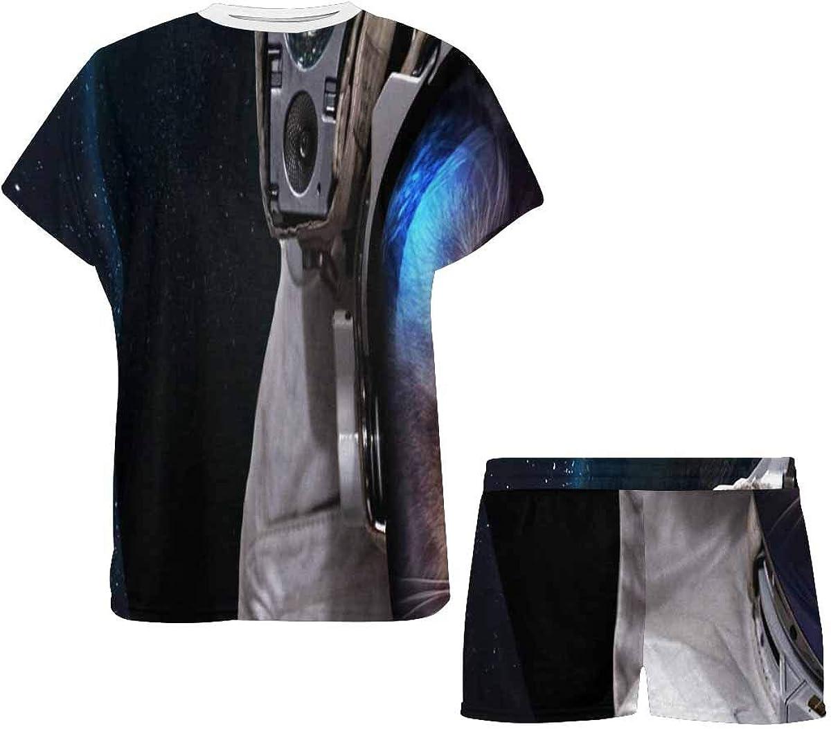 INTERESTPRINT Cat Astronaut in Outer Space Women's Lightweight Pajama Set, Short Summer Pjs