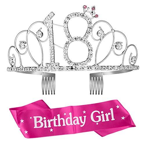ZOEON Corona Tiara di Cristallo con Fusciacca per 18 ° Compleanno