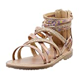Vonair Girls Strappy Gladiator Sandals with Zipper Comfort Summer Shoes Gold US 3