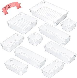 10PCS Transparente Boîte Stockage Tiroir,Rangement Empilable Transparent Plateaux,Organiseur Tiroir Salle de Bain,Rangemen...
