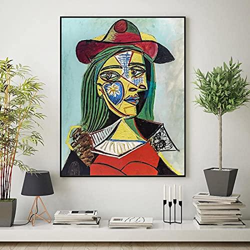 YHJK Imprimir Carteles de Arte de línea Abstracta e Impresiones en Lienzo Pintura Facial Femenina Cuadros de Pared nórdicos decoración de Interiores de Dormitorio 70x90 cm sin Marco