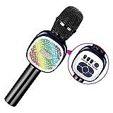 Micro Karaoké Sans Fil Bluetooth,BRGOOD 4 en 1 Micro Karaoké Enfant avec Lumières Haut-Parleurs Intégrés Compatible avec PC, Ordinateur Portable, iPhone, Android ou tous les Smartphones (Noir)