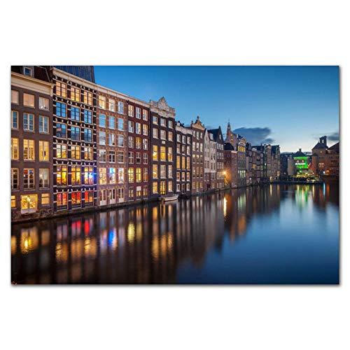 LDTSWES Amsterdam City Landschap Legpuzzels, Houten 1000 Stuks Vliegtuig Surface Puzzle, voor Volwassenen Tieners Kinderen Speelgoed Assembleren van puzzels
