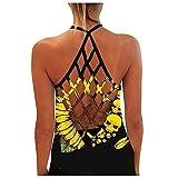 Damen Sexy Bluse Weste Mode Tanktop, personalisiertes, bedrucktes, sexy, rückenfreies Tanktop für Damen,Sporttop Yoga Rückenfrei Oberteil Laufen Fitness Funktions Shirt Tank Tops(06-Gelb:L)