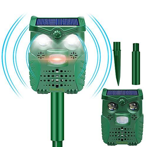 Everenty l-33 Ahuyentador de Animales Solar con USB, IP66, Resistente al Agua, ultrasónico, para Gatos, Ratones, Perros, Ratas, tejones, Zorros, roedores pequeños y pájaros [2020], Verde