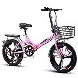 B-yun Las Bicicletas Plegables Velocidad Frenos 20 Pulgadas Pequeño Portátil Estudiante Ciudad Bicicleta Dual Shock Disco Antideslizante Bike Hombres Mujeres(Color:Rosado)
