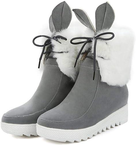 NVXUEZIX Bottes pour Femmes Bottes en Daim Daim Daim d'hiver Confort Talon compensé Bout Rond Bottillons Bottes de Lapin Oreilles de Lapin, 36 0e6