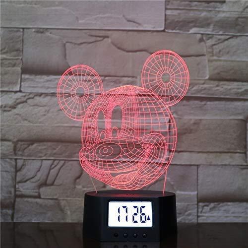 LED-Nachtlicht mit Farbverlauf, buntes Nachtlicht, 3D-Acryl-Weckersockel, Micky-Maus-Muster, Stimmungslampe, schön