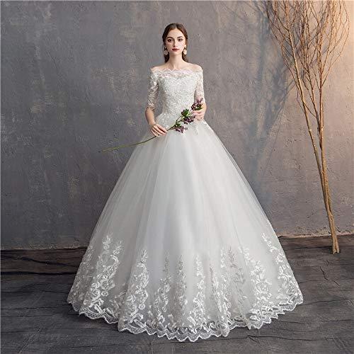 Brautkleid Tüll Spitze Hochzeitskleid halblange Ärmel Vintage Hochzeitskleider Schulterfrei Stickerei Brautschmuck Ballkleider Elegant Hochzeitskleider (Farbe: Off White, US-Größe: 16)