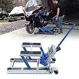 Kaibrite Sollevatore idraulico per moto e moto, ponte sollevatore idraulico per moto, max 680 kg, acciaio blu