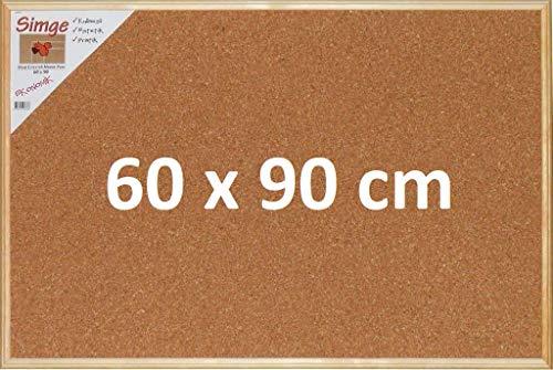 Premium Kork Pinnwand für Büro, Schule, Küche etc. mit minimalistischem Naturholzrahmen in 90cm x 60cm