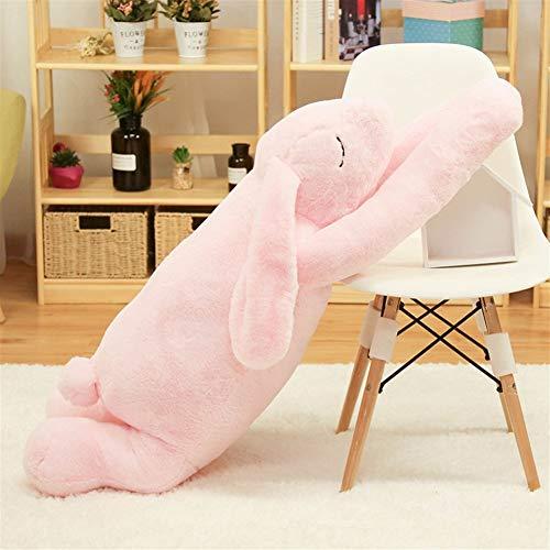 47-B - Peluche a forma di coniglio lungo bambola che dorme nel letto, con clip per gambe, cuscino per bambola e ragazza (colore: rosa, dimensioni: 90 cm)