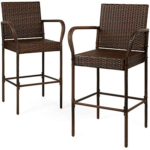Best Choice Products Set of 2 Indoor Outdoor Wicker Bar Stools Bar Chairs for Patio, Pool, Garden, Deck - Brown