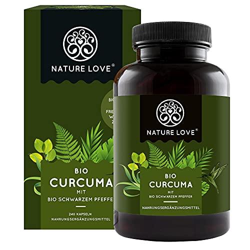 NATURE LOVE Bio Curcuma (240 Kapseln) - Curcumin & Piperin - laborgeprüft, hochdosiert, vegan, in Deutschland hergestellt