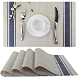 Bright Dream Placemats Vinyl Heat-resistand Kitchen Table Setting Mats Washable Table Mats Set of 4Navy