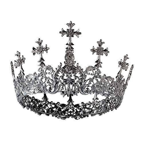 SWEET Gothic Queen Krone für Frauen, Black Leaf Tiara Halloween Diadem Pageant Crown mit Cross Decor, Kostüm Party Zubehör für Day of the Dead Cosplay