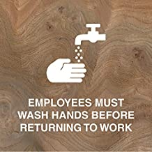 iCandy Products Inc Employees Must Wash Hands Before Returning to Work, Wash Hand Hotel Office Building Sign 12x12 in, Elm Burl, Metal