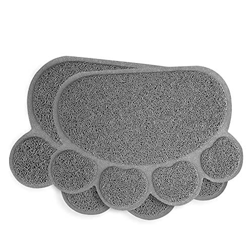 INFURIDER Tappetino Lettiera Gatto 40x30cm - Cuscinetto in PVC Forma di Artiglio Carino con Impermeabile e Durevole, Facile da Pulire per Animali Cibo per Animali Bere Acqua (2 Pezzi)