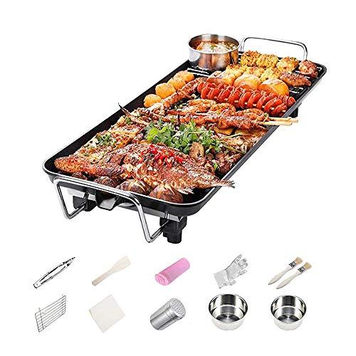 4YANG Smokeless BBQ Grill Set Innen Teppanyaki Grills Tischgrill Antihaft-Grillplatte, 5-stufige einstellbare Temperatur, für Indoor Outdoor 1-10 Personen, 67 x 28 cm (XL)