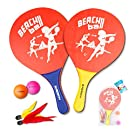 Beach Paddle Set for Beach Tennis Wooden Paddle Game Indoors or Outdoors(2 Soft Handle Rackets, 2 Balls, 2 Shuttlecocks and 1 Bag)