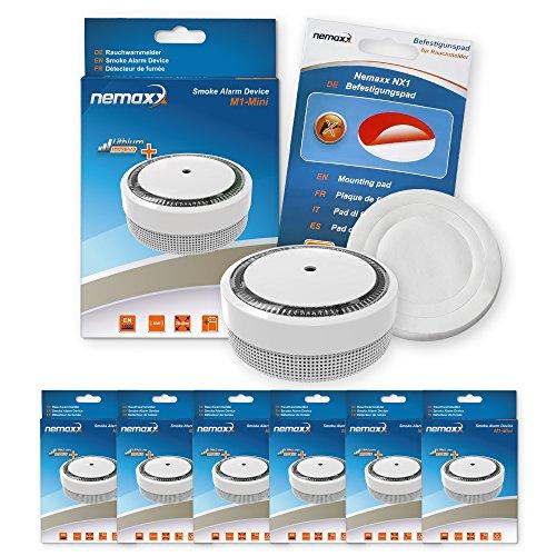 Nemaxx 6x Rauchmelder M1-Mini - Sensibler Photoelektrischer Rauchwarnmelder - mit Lithiumbatterie...