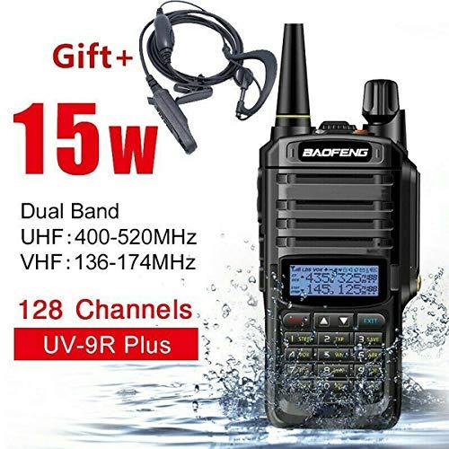 ChaserDe UV-9R Plus Walkie Talkie 15W VHF UHF Walkie Talkie Dual Band Comunicazione Radio bidirezionale (Nero, 15w)