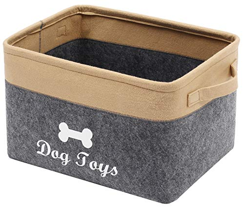 Geyecete Dog Toys Storage Bins - Pet Toy and Accessory Storage Bin, Organizer Storage Basket for Pet Toys, Blankets, Leashes and Food-Gray/Khaki