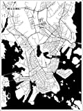 Poster 30 x 40 cm: Helsinki Finnland Karte von Main Street