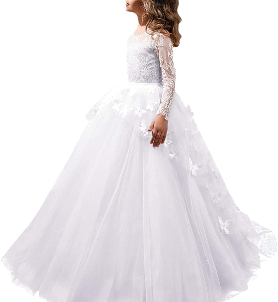 FYMNSI Flower Girls Lace Indianapolis Mall Appliques First Communion Dress Long Sl Popular products
