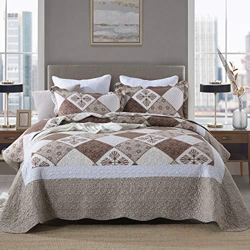 ENCOFT 3 Teilig Tagesdecke Bettüberwurf 230x250cm Braun Steppdecke Doppelbett Polyester Atmungsaktive Gesteppt Decke tagesdecken mit 2 Kissenbezug 50x70 cm (Braun)