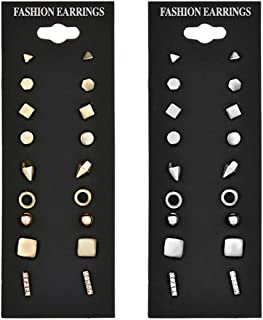 Achieer 9pairs/Set Simple Vintage Geometric Crystal Stud Earrings Set Charm Trendy Gold/Silver Alloy Punk Earrings Women C...