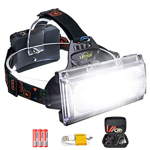 LED Headlamp LETOUR 1800 Lumen Rechargeable Headlamp COB High Bright Headlight 3 Modes Adjustable IP65 Waterproof Lightweight Work Light for Hard Hat Camping Cycling Hunting Fishing Climbing Outdoor