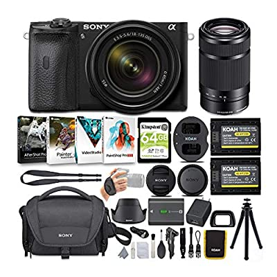 Sony Alpha a6600 APS-C Mirrorless ILC Bundle with 18-135mm and 55-210mm Lenses (8 Items) from Sony