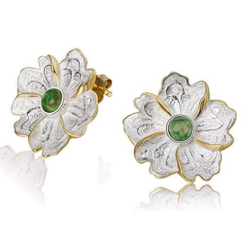 Lotus Fun S925 Sterling Silber Ohrstecker Naturstein Pfingstrose Blume Ohrring Stud Handgemachter Einzigartiger Schmuck für Frauen und Mädchen (Green)